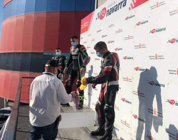 on the podium at Navarra